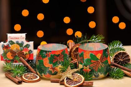 Свеча Новогодняя, корица с апельсином, стакан 8х7cм Bartek Candles 152064