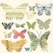 Салфетки коктейль Стая бабочек, 25x25см, 3 слоя, 20шт Paper+Design CN0795