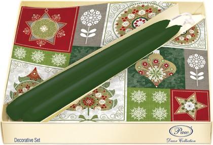 Набор 20 салфеток, 2 свечи Новогодний микс Paw SSC025000