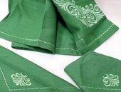 Скатерть 140x250 +12 салф. 40x40 Зелёная с вышивкой Белорусский лён 08c319/140x250/0/631
