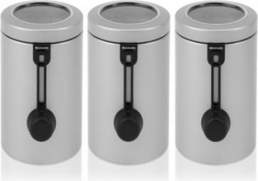 Банки для хранения продуктов Brabantia 1.7л с прозрачной крышкой и мерной ложкой, серый металлик, 3шт 423727