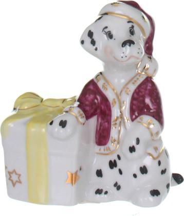 Статуэтка Дулёвский фарфор Собака с подарком Д086372