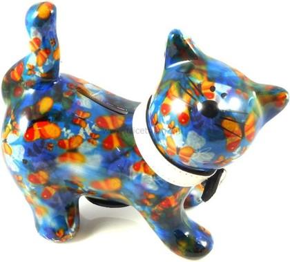 Копилка Pomme-Pidou Кошка Kitty синяя с бабочками 148-00021/4