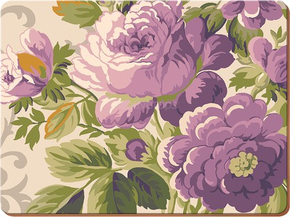 Подставки под тарелки на стол Creative Tops Пурпурные цветы 29x21.5см, 4шт, пробка 5178949