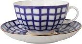 Чашка с блюдцем ИФЗ Тюльпан, Кобальтовая клетка, 250мл 81.14860.00.1