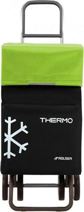 Термосумка-тележка хозяйственная чёрная с зелёным лаймом Rolser DOS+2 THERMO TER038negro/lima