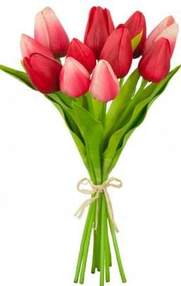 Цветок искусственный Букет из красных тюльпанов 11шт. 25см Floralsilk BB20392RED