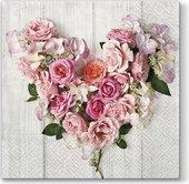 Салфетки ланч 3-х слойные Розовое сердце, 33x33, 20шт Paw SDL091100