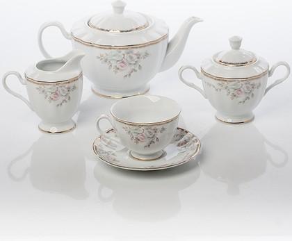 Чайный серв 6/17 Весенний букет Porcelaine Czech Gold Hands LUISA14102C/17