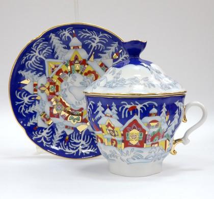 Чашка с блюдцем и крышкой Зимняя сказка, ф. Подарочная 2 ИФЗ 81.14563.00.1