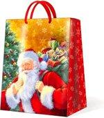 Пакет подарочный бумажный Paw Улыбающийся Санта, 26.3x33x13.5см AGB012505