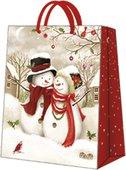 Пакет подарочный бумажный Paw Снежная семья 20x25x10см AGB030703