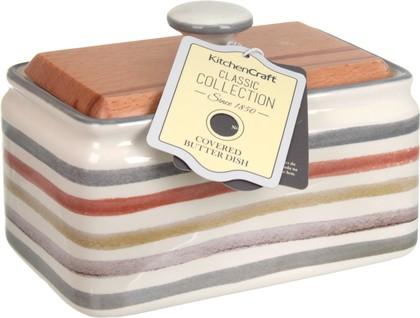 Маслёнка KitchenCraft Classic керамическая, с деревянной крышкой, 250гр KCCCBUTTER