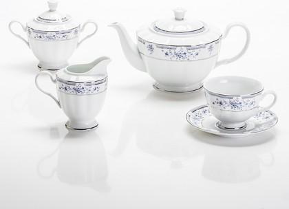 Сервиз чайный Синий ситец 6/17 Porcelaine Czech Gold Hands LUISA218WC/17