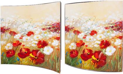 Модульная картина Top Art Studio Белые и красные маки 38х38см, пара, дерево, лак WDP0863-TA