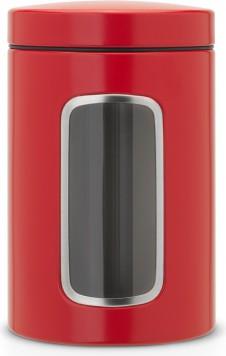 Банка для хранения продуктов Brabantia с окном 1.4л, стальной пламенно-красный 484063