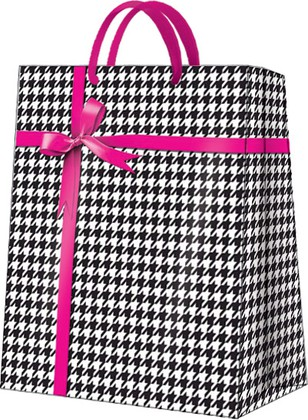 Пакет подарочный Гусиная лапка(розовый) 20x25x10см Paw AGB028403