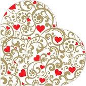 Салфетки круглые Сердца, d32см, 3 слоя, 12шт Paw SDH079200