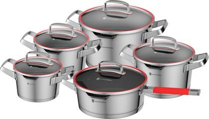 Набор посуды из нержавеющей стали, 10 предметов Yamateru KAMINARI 4991008