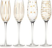 Фужер для шампанского KitchenCraft Mikasa 210мл Металлик Золото, набор 4шт, хрустальное стекло 5140630