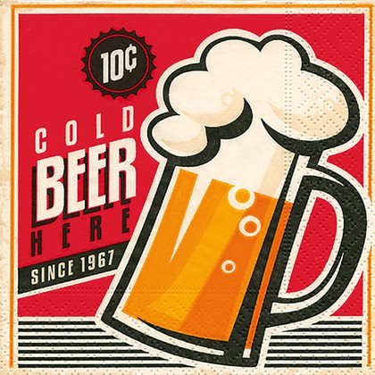 Салфетки коктейль Холодное пиво, 25x25см, 3 слоя, 20шт Paper+Design 11818
