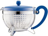 Чайник заварочный с прозрачным фильтром 1.0л, синий Bodum Chambord 1975-842