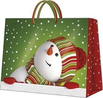 Пакет подарочный бумажный Paw Веселый снеговик 33.5x26.5x13см AGB018506
