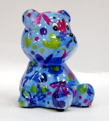 Копилка Pomme-Pidou Мишка Тэдди, мини, голубой 9.5x9x10.5см 148-00250/A