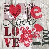 Салфетки Я люблю тебя, 33x33см, 20шт Paper+Design 200040