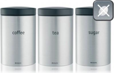 Набор из 3 стальных контейнеров для кофе, чая и сахара 1.4л, матовая сталь Brabantia 314926