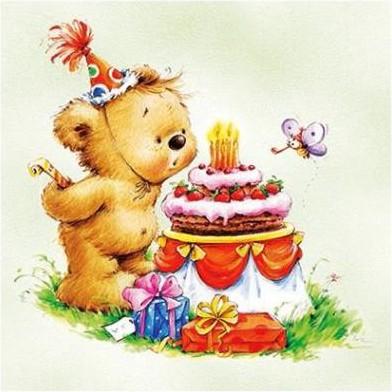 Салфетки для декупажа Paw День рождение медвежонка, 33x33см, 20шт SDL884006