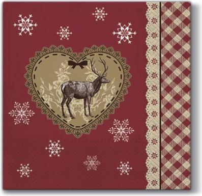 Салфетки Любить Рождество 33x33см, 20шт, 3-сл. Paw SDL097500