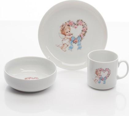 Набор для завтрака с рисунком Ангелочек с сердцем Porcelaine Czech Gold Hands DSATEB124/3