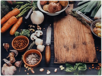 Доска разделочная стеклянная Lesser & Pavey Овощи, 40x30см LP93546