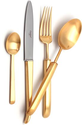 Набор столовых приборов Cutipol Carre Matte Gold, 72 предмета, матовое золото 9132-72