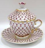 Чашка с блюдцем и крышкой чайная Сетка-Блюз, ф. Подарочная-2 ИФЗ 81.15512.00.1