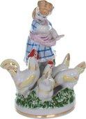 Статуэтка Дулёвский фарфор Девочка с курами в голубом платье С744.1