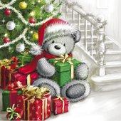 Салфетки для декупажа Paw Медведь с подарками, 20шт 33x33см TL644000