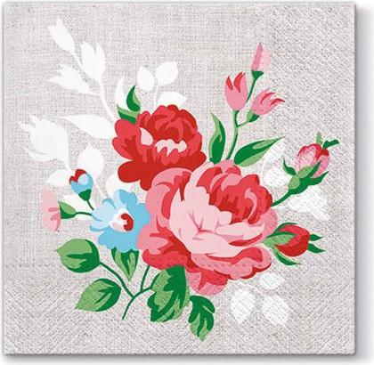 Салфетки для декупажа Цветы на белье 33x33, 3-сл, 20шт Paw TL695000
