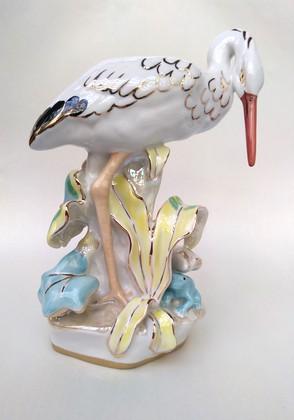 Скульптура Аист Дулёвский фарфор С752