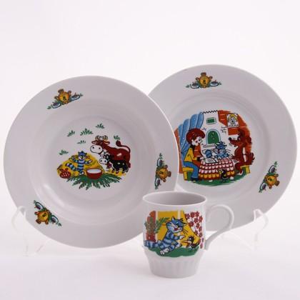 Набор детской посуды 1/3 Простоквашино, ф. Русское поле Дулёвский фарфор Д05182