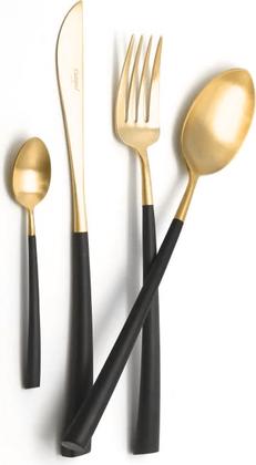 Набор столовых приборов Cutipol Noor Matte Gold, 24 предмета, матовое золото, чёрная ручка 9282