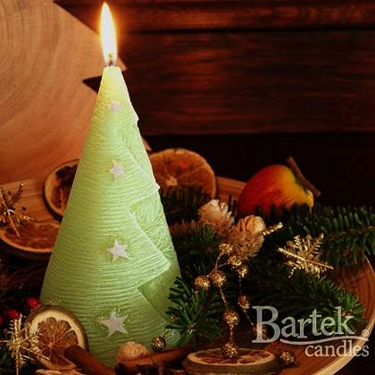 "Bartek Candles CHRISTMAS CANDLE Свеча ""Ёлочка со звёздами"", конус с подсветкой 90x170мм, артикул 5907602669794"