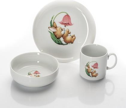 Набор для завтрака Зайка Porcelaine Czech Gold Hands DSATEB122/3