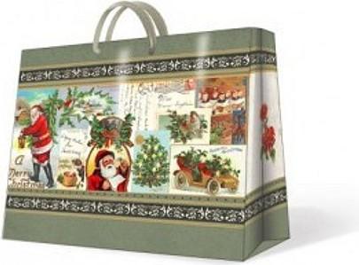 """Paw VINTAGE CHRISTMAS Пакет подарочный """"Рождественский винтаж"""", формат горизонтальный, артикул AGB000318"""