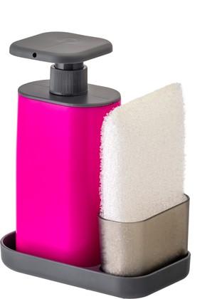 Дозатор моющего средства с губкой на подставке, розовый Vigar Rengo 7170