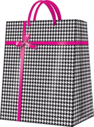Пакет подарочный Гусиная лапка(розовый) 26.5x33.5x13см Paw AGB026505