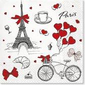 Салфетки для декупажа Paw Я Люблю Париж, 33x33см, 20шт TL701400