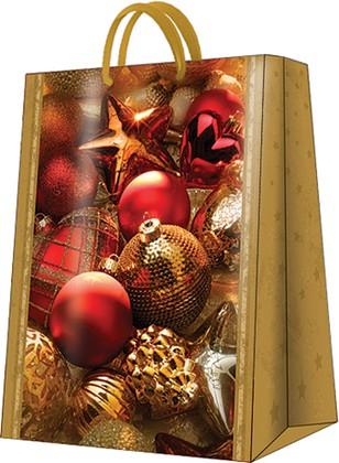 Пакет подарочный бумажный Paw Новогодние игрушки 30x41x12см AGB016302
