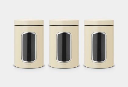 Банки для хранения продуктов Brabantia с окном 1.4л, миндальный, 3шт 380341